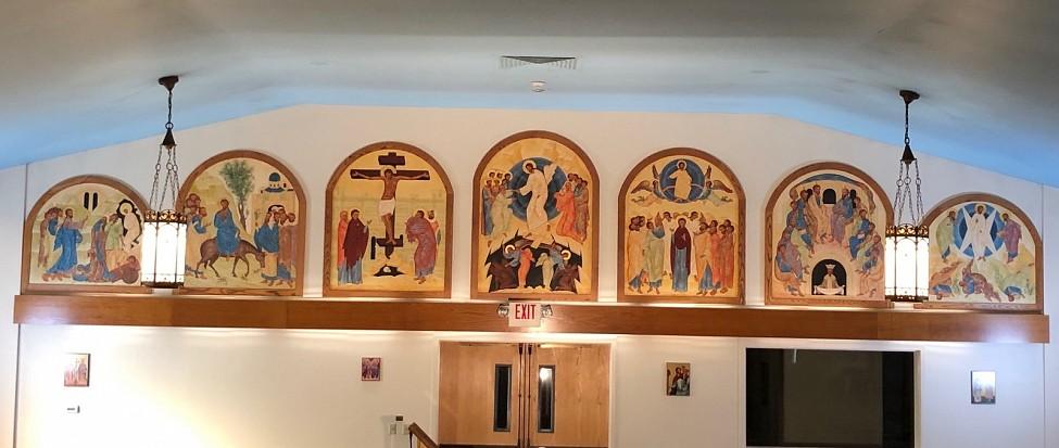 Icons on rear church wall