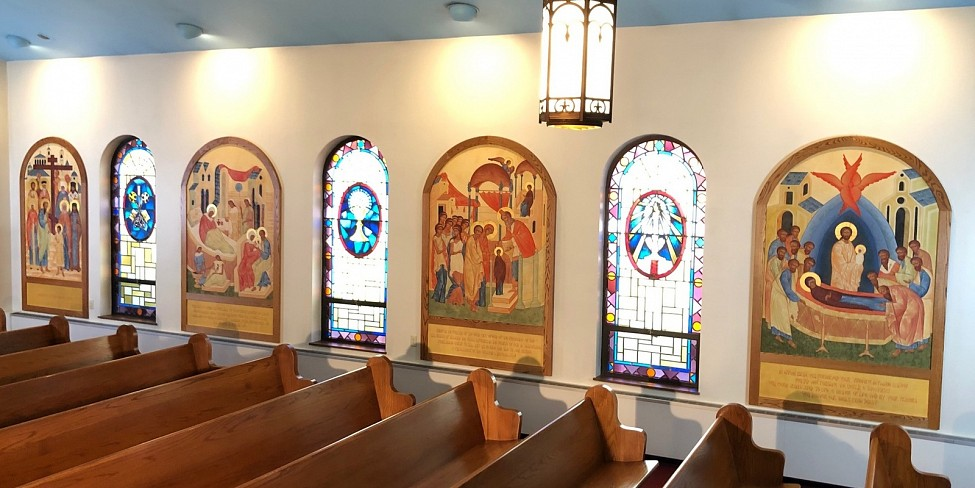 Icons on left side or north wall