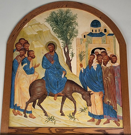 Icon of the Entrance of the Lord into Jerusalem at St. George - located on the rear upper wall of the church