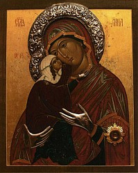 Photograph of an Icon card of the St. Anna Icon.  The Icon card was handed out after the Mystery of Holy Unction service